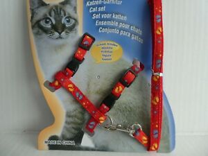 (ch006) Cat Chaton Réglable Harness & Lead Set Red Cartoon Empreinte & Stars-afficher Le Titre D'origine Artisanat Exquis;