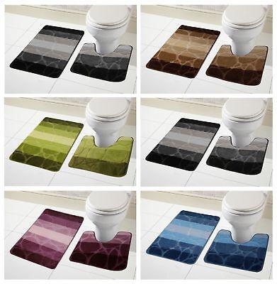 Kaya Stripes 2pc Bath Pedestal Mat Sets Non Slip Extra Absorbent Bathroom Rugs Ebay