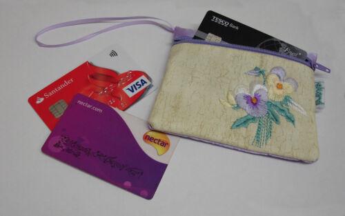 Nouveau EKARD violet brodé du détenteur de la carte de crédit porte-monnaie pochette zippée K80P
