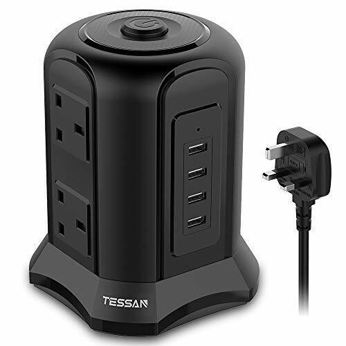 Tessan 6 Way Tour Extension Lead avec USB 4 emplacements 6 Gang Rallonge avec