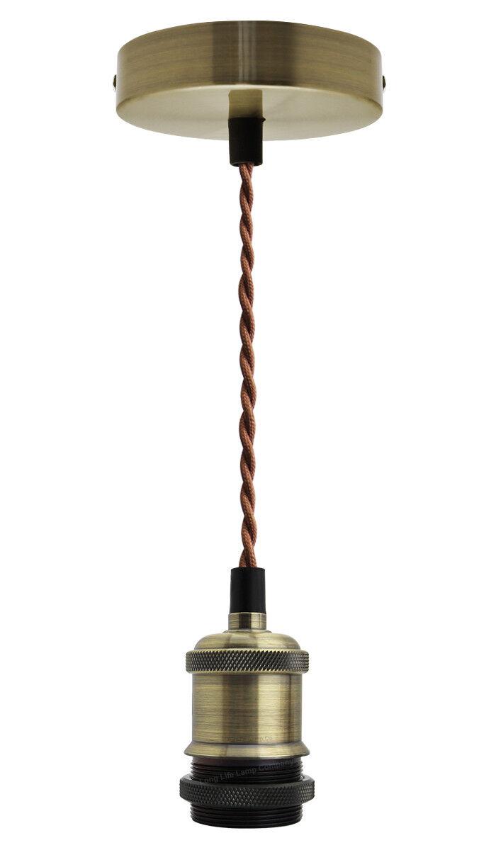 Modern Ancient Brass Ceiling Rose,Pendant Light Fitting,Braided Flex E27 Lamp Holder LAN03-Ancient Brass Suspended Pendant Ceiling Light Fitting