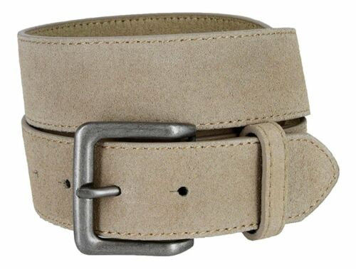 "Hagora Men/'s Plain Solid Color Genuine Suede 1-1//2/"" Wide Snap Buckle Jeans Belt"