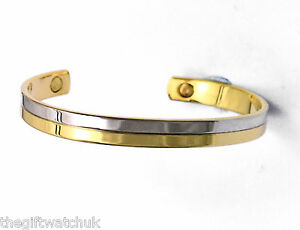 Magnetic Bamboo Design Bangle - Magnetic Therapy Bracelet (Silver) 3pHgR