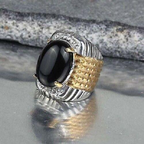 Chevalière mixte stainless steel color silver  or cabochon pierre black T.60
