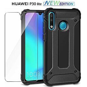 COVER-per-Huawei-P30-Lite-New-Edition-CUSTODIA-RUGGED-ARMOR-NERO-Pellicola-Vetro