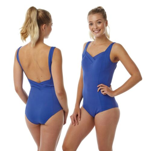 Ladies Blue Swimming Costume Bathing Swimsuit One Piece Size 16 18 20 22 24
