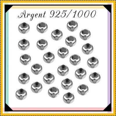 PL003 Réf Perles lisses 3mm trou 1,2mm en Argent 925//1000