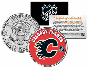 CALGARY-FLAMES-NHL-Hockey-JFK-Kennedy-Half-Dollar-U-S-Coin-LICENSED