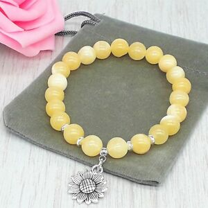 Handmade Natural Yellow Jasper Gemstone Stretch Bracelet & Velvet Pouch. 6/8mm