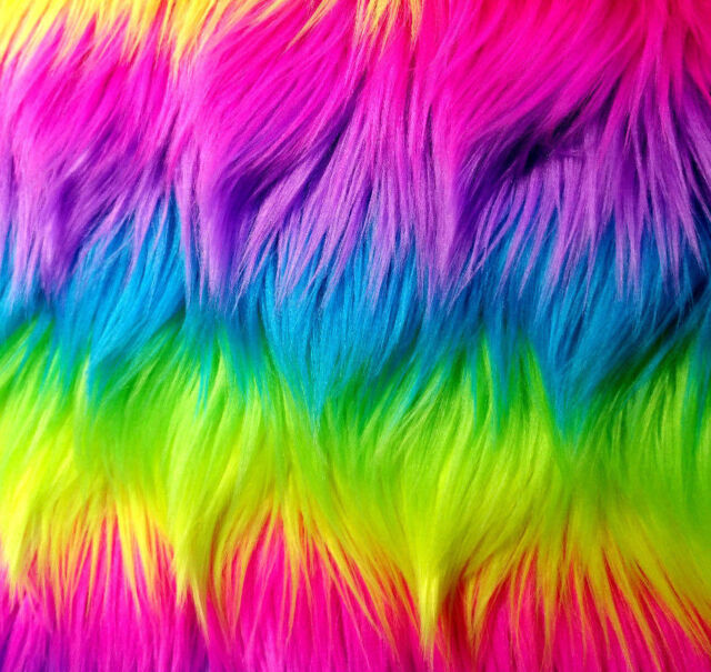"""60/"""" Wide Sold BTY Faux Fur Long Pile SHAGGY RAINBOW Vertical Stripes Fabric"""