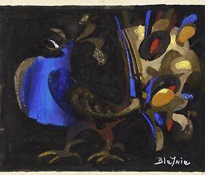 Claude-BLEYNIE-23-16-Hahn-von-der-soir-gouache-auf-dem-Papier-Levallois