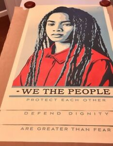 """Shepard Fairey We The People /""""Protect Each Other/"""" 24x36/"""" Offset Print Lithograph"""