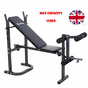 Folding Weight Bench Sit Up Multi Gym Dumbell Workout Abs Leg Bar Preacher Curl