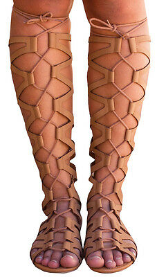 New Khaki Gladiator Sandals Knee High Lace Up Tie Flat Roman Women's Shoes