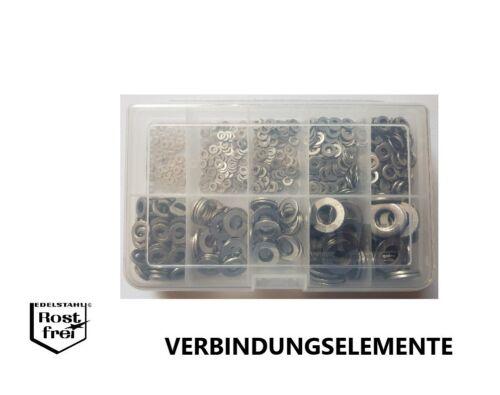Unterlegscheiben//Scheiben Sortiment//Set DIN 125 700 Teile EDELSTAHL A2 2,2-10,5