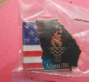 New Olympic Lapel Pin Usa Flag Beside Atlanta Map