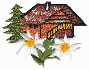 ALMHÜTTE  Alpine Hut Tracht - Aufnäher Aufbügler Iron On Patch Applikation #9689