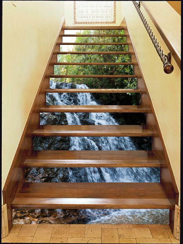 3D Rivulet Water 7 Stair Risers Decoration Photo Mural Vinyl Decal Wallpaper CA