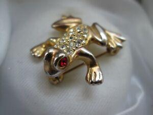 Vintage-Jewelery-Ruby-amp-Clear-Glass-Rhinestone-Gold-Tone-Frog-Animal-Brooch-Pin