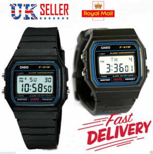 Neuf-ORIGINAL-Numerique-CASIO-F-91W-Alarme-Chronographe-Retro-Classique-Watch-UK