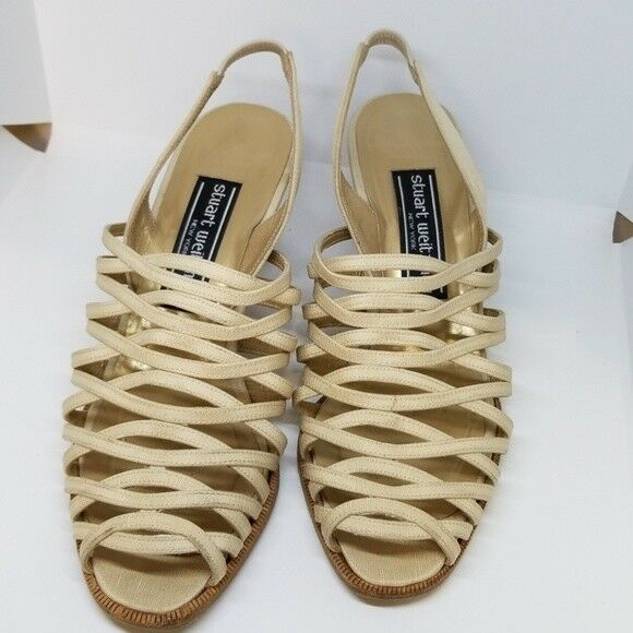 Stuart Weitzman 00120 strappy fabric sandals 6.5B