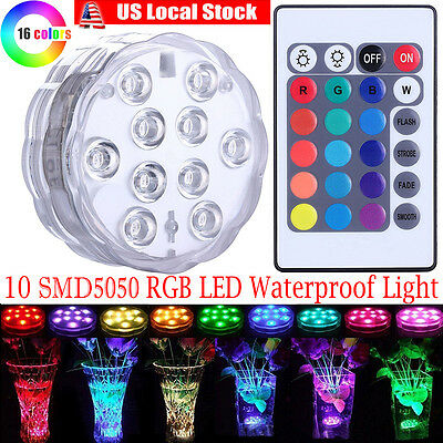 Aquarium Qoolife Submersible LED Lights Remote Control Battery Powered Pond Halloween Party Wedding Floral RGB Multi Color Changing Waterproof Light for Vase Base Christmas