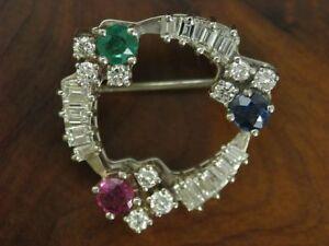 Broschen & Anstecknadeln Diamantbrosche Rubin Brosche 18kt 750 Gold Diamanten Brillanten Rubin