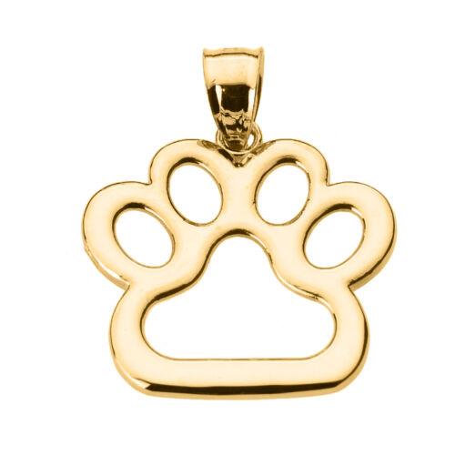 New fine 14k or jaune chien Paw Print Collier Pendentif Pet Animal Pied