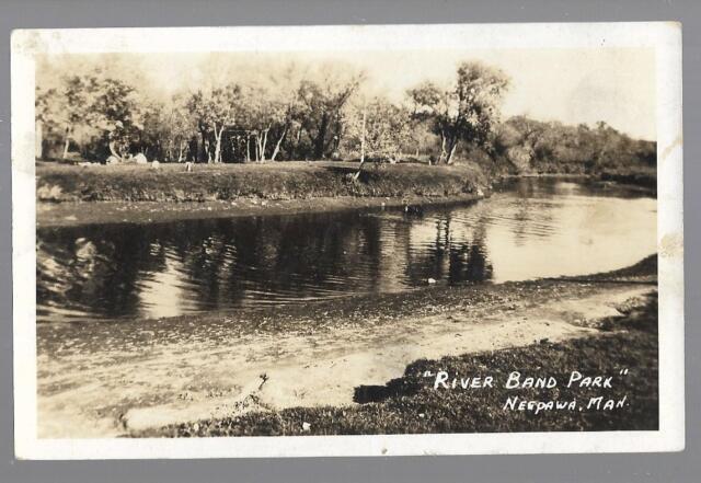 pk45567:Real Photo Postcard-River Band Park,Neepawa,Manitoba