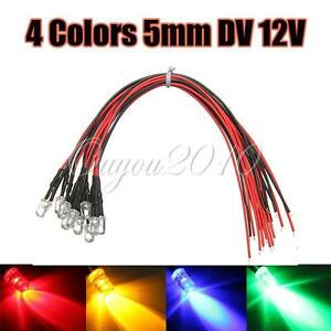 10x-20CM-Pre-Wired-Prewired-Ultra-Bright-12V-5mm-LEDs-LED-Light-Lamp-Bulb-NEW