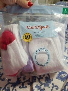 Cat & Jack Girl's Crew Athletic Socks. Size: Small. | eBay