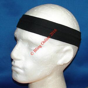 3 x BLACK 7cm FABRIC HEADBANDS HAIR HEAD BAND FOOTBALL SPORTS MENS ... 04a10bd025a