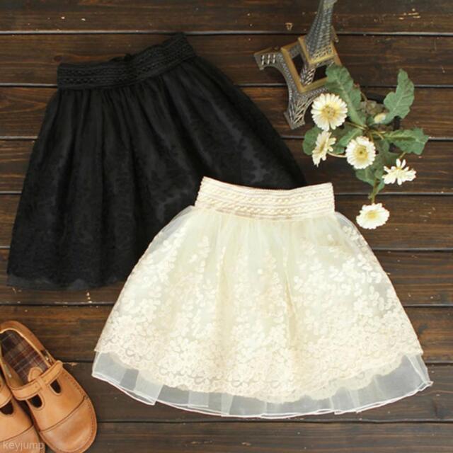 Fashion Girl Lace Embroidery Gauze Princess Tutu Dancing Mini Dress Short Skirt