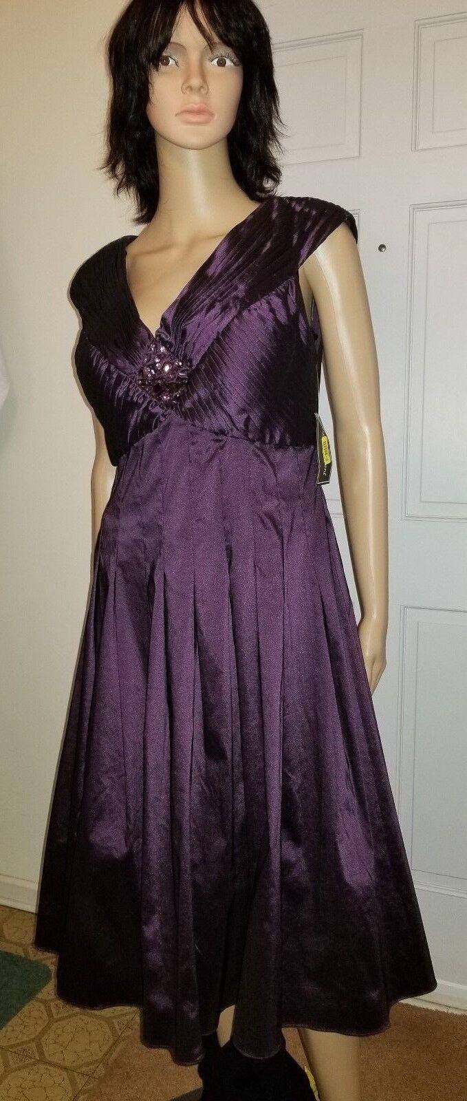 NEW Jessica Howard Womens Formal Dress Deep Purple Pleats Rhinestone Missy Sz 12