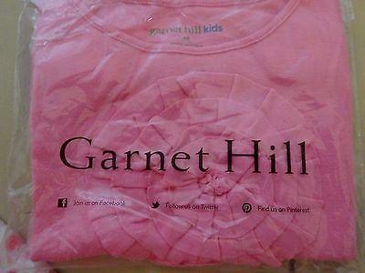 NEW Garnet Hill Girls Pink Tee Top Large Circle Flower Detail Size Medium 6 - 7