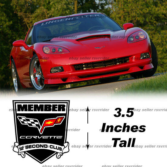 Corvette 12 second club member decal sticker C5 C6 C7