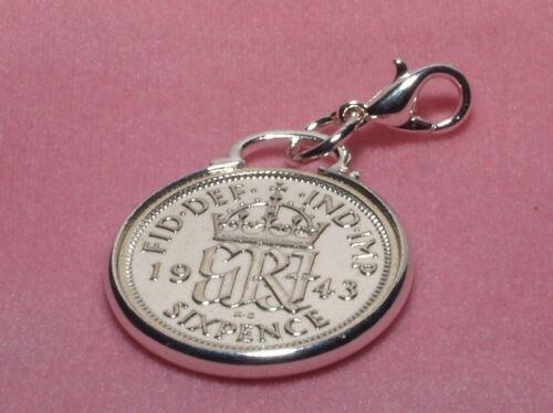 1938 82nd Cumpleaños Seis Peniques Moneda pulsera con dijes De La Suerte Listo para Colgar 1938 Cinch