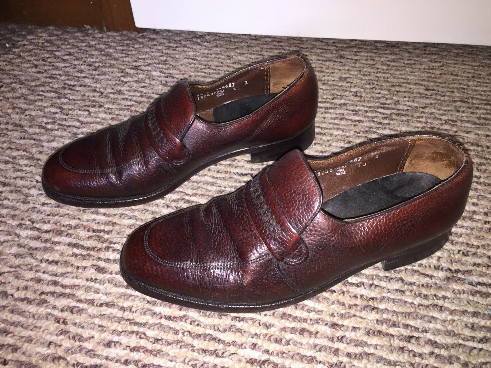 Vintage DANIEL FORBES Matador Burgundy Red Leather Slip In On Size 8.5 Made In Slip USA 33ab27