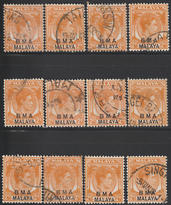 MALAYSIA-MALAYA-STRAITS-SETTLEMENTS-1945-BMA-2c-X12-USED-UNCHECK-FOR-VARIETY