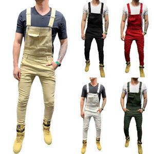 Hombres Jeans Ajustados Simple Slim Fit Babero Mono Pantalones De Mezclilla Ebay