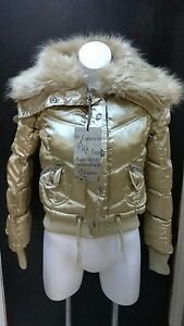Størrelse Fur Cappuccino Removable Coat Puff Gold Med M Collar Faux wc8wgqvC