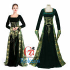 Hofadel Renaissance Medieval Game Green Costume Cosplay Dress Gown Halloween
