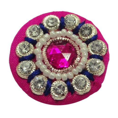 Decorated Buttons Wedding Dress Sewing Rhinestone Magenta Round Buttons 5 Pcs