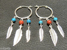 Unique Turquoise & jasper silver feather hoop EARRINGS - hand made