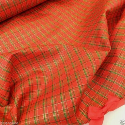 "per metre poly viscose red gold /& green tartan fabric 57 /"" wide 145cm"