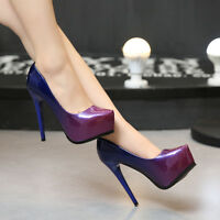 Purple Women Pu Party High Heel Club Platform Pump Party Dress Shoe 839 Lbt