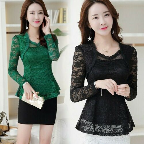 Women Lace Hollow Out Ruffle Shirts Slim Floral Peplum Long Sleeve Blouse Tops