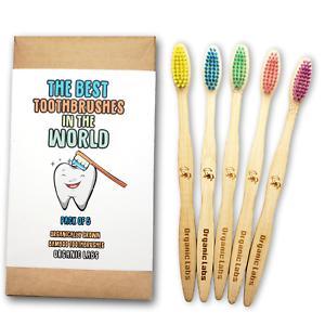 Natural Bamboo Toothbrush BPA Free Color Bristles Pack of 5 Organic Labs