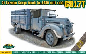Ace-1-72-Model-Kit-72575-G917T-3t-German-Cargo-truck-m-1939-soft-cab