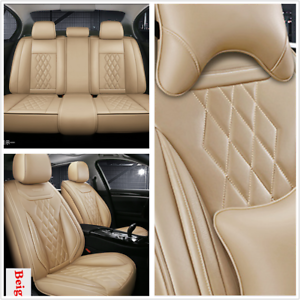 beige leather full set 5d surround car seat cover mat for interior  accessories | ebay  ebay